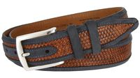 12145 Oil Tanned Nubuck Stitched Edges Crossweaved Leather Dress Belt - Blue
