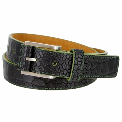 15782 Single Green Stitching Alligator Embossed Leather Dress Belt