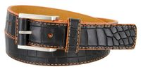 Lejon Single Orange Stitching Alligator Embossed Leather Dress Belt