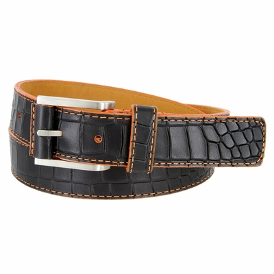 15784 Single Orange Stitching Alligator Embossed Leather Dress Belt