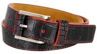 15781 Single Red Stitching Alligator Embossed Leather Dress Belt