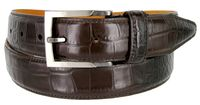 13444 Single Stitched Italian Calfskin Alligator Embossed Leather Dress Belt - Brown