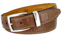 13283 Triple Stitched Alligator Embossed Italian Calfskin Casual Dress Belt - Brown