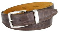 13282 Triple Stitched Alligator Embossed Italian Calfskin Casual Dress Belt - Coffee