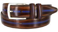 12375 Vintage Style Italian Calfskin Center Stripe Leather Dress Belt - Brown