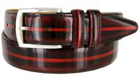 12374 Vintage Style Italian Calfskin Center Stripe Leather Dress Belt - Burgundy