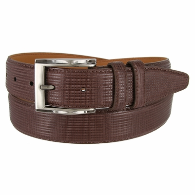 1233 Men's Embossed  Leather Dress Belt 1-3/8 Wide Made In USA - Brown