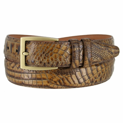 LJ2022 Italian Calfskin American Alligator Embossed Belt 1-3/8 Wide Made In USA