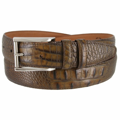 LJ2053 Italian Calfskin American Alligator Embossed Belt 1-3/8 Wide Made In USA