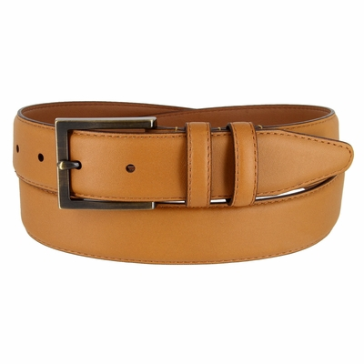 LJ2053 Smooth Tan Genuine Leather Belt 1-3/8 Wide Made In USA