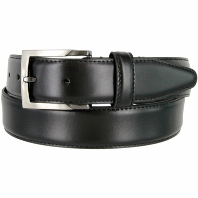 "133860 Genuine  Leather Dress Casual Belt 1-3/8"" (35mm) wide with Nickel Plated Buckle - BLACK"
