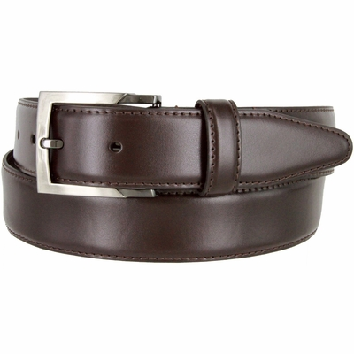 "133860 Genuine Leather Dress Casual Belt 1-3/8"" (35mm) wide with Nickel Plated Buckle - BROWN"
