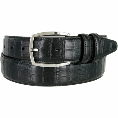 """133861 Genuine Leather Dress Casual Belt 1-3/8"""" (35mm) wide with Nickel Plated Buckle"""