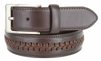 "Men's Cross-weaved Genuine Leather Dress Casual Belt - 1 3/8"" wide BROWN"