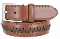 "Men's Cross-weaved Genuine Leather Dress Casual Belt - 1 3/8"" wide TAN"
