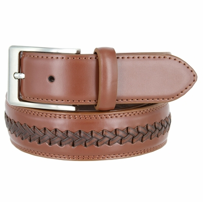 "16063 Men's Cross-weaved Genuine Leather Dress Casual Belt - 1 3/8"" wide TAN"