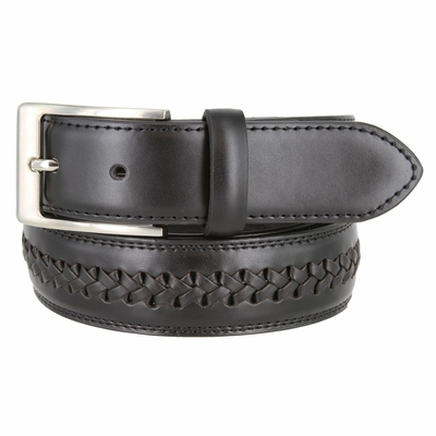 "16063 Men's Crossweaved Genuine Leather Dress Casual Belt - 1 3/8"" wide  BLACK"