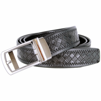 Men's Diamond Pattern Sliding Buckle Leather Ratchet Belt (35mm) - BLACK