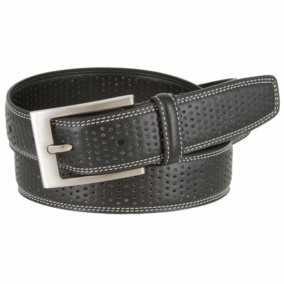 "Men's Double Stitched Edges and Stippled Leather Dress Golf Belt 1-1/4"" Wide"