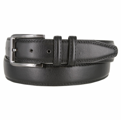 "HJ86 Men's Genuine Leather Casual Dress Belt - 1 3/8""  wide - BLACK"