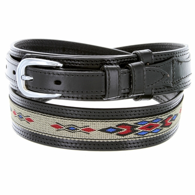 "1023 Traditional Leather with Cloth Inlay Ranger Belt - BLACK - 1 1/2"" Wide - Billet 3/4"""