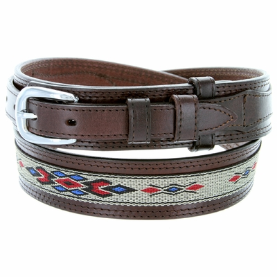 1023 Traditional Leather with Cloth Inlay Ranger Belt - BROWN
