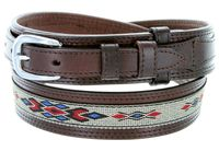 "1023 Traditional Leather with Cloth Inlay Ranger Belt - BROWN - 1 1/2"" Wide - Billet 3/4"""