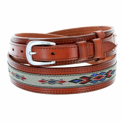 1023 Traditional Leather with Cloth Inlay Ranger Belt - TAN