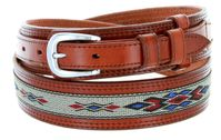 "1023 Traditional Leather with Cloth Inlay Ranger Belt - TAN - 1 1/2"" Wide - Billet 3/4"""