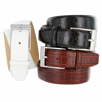"3549 Men's Italian Alligator Embossed Calfskin Leather Dress Belt - 1 3/8"" wide"