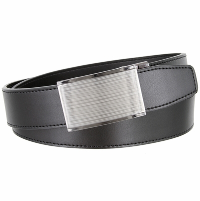 Men's Smooth Leather Belt Sliding Buckle 35mm wide Ratchet Belt - Black
