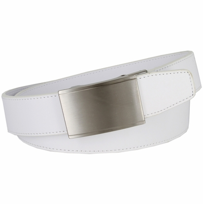 LA2050 Men's Smooth Leather Belt Sliding Buckle 35mm wide Ratchet Belt - White