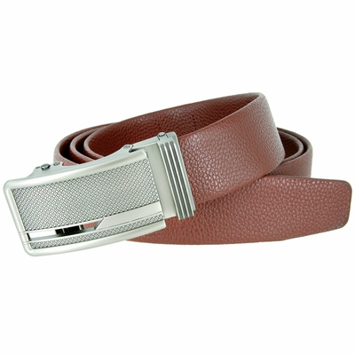 Men's Stippled Pattern Sliding Buckle Genuine Leather Ratchet Belt (35mm) - Brown