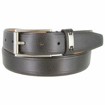 """GW123 Men's Synthetic Double Lined Edges Pebbled Leather Casual Dress Belt 1-1/4"""" Wide"""