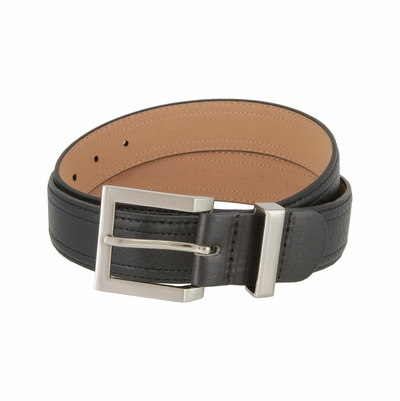 "GW111 Men's Synthetic Double Stitched Edges Pebbled Leather Casual Dress Golf Belt 1-3/8"" Wide"