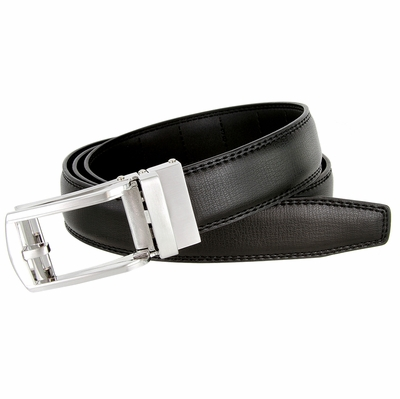 Men's Vintage Gunmetal Sliding Buckle Genuine Leather Ratchet Belt (35mm) - Black