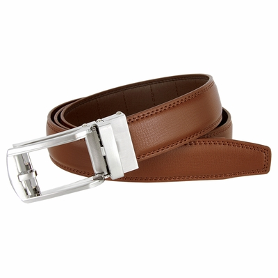 Men's Vintage Gunmetal Sliding Buckle Genuine Leather Ratchet Belt (35mm) - Brown