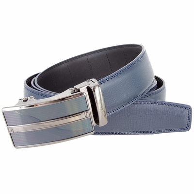 LA2057 Men's Vintage Gunmetal Sliding Buckle Genuine Leather Ratchet Belt (35mm) - Navy