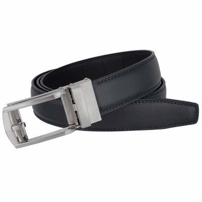 LA1013 Men's Vintage Gunmetal Sliding Buckle Genuine Leather Ratchet Belt (35mm) - Navy