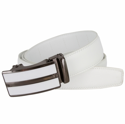 Men's Vintage Gunmetal Sliding Buckle Genuine Leather Ratchet Belt (35mm) - White