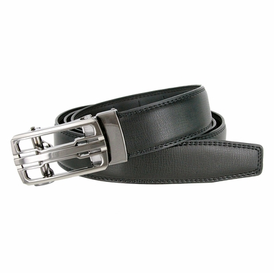 LA1220 Men's Vintage Polished Gunmetal Sliding Buckle With Roller Genuine Leather Ratchet Belt (35mm) - Black