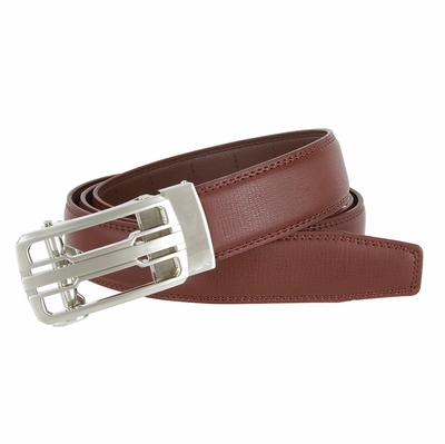 LA1220 Men's Vintage Polished Gunmetal Sliding Buckle With Roller Genuine Leather Ratchet Belt (35mm) - Brown