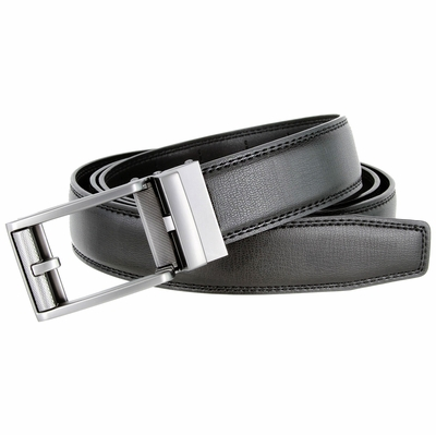Men's Vintage Sliding Buckle Genuine Leather Ratchet Belt (35mm) - Black