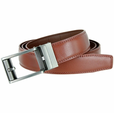 Men's Vintage Sliding Buckle Genuine Leather Ratchet Belt (35mm) - Brown
