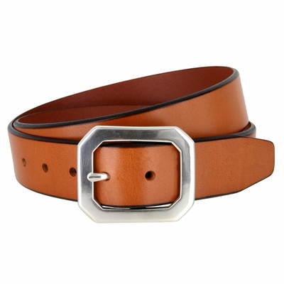 """1396 Casual Dress Feather Edge Solid Leather Belt - 1 1/2"""" wide - 3 Colors Available"""