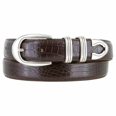 "NEW!! 1548 Men's silver buckle Genuine Italian Calfskin Leather belt 1 1/8"" Wide"