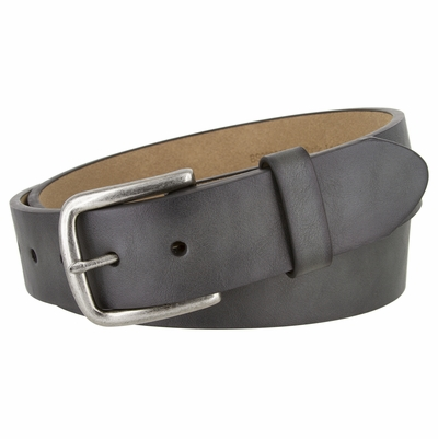 "NEW!!! 2400 Casual Vegan Leather Belt Antique Silver Buckle - 1 1/2"" Wide"