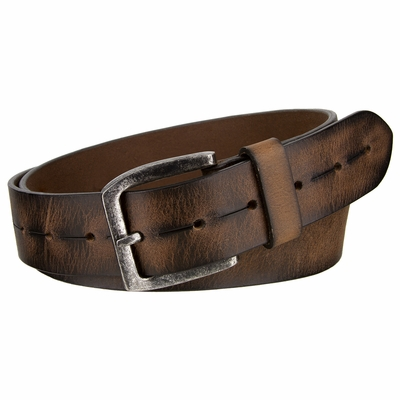 "NEW!!! 2410 Vintage Brown Genuine Leather Casual Jeans Belt - 1 1/2"" wide"