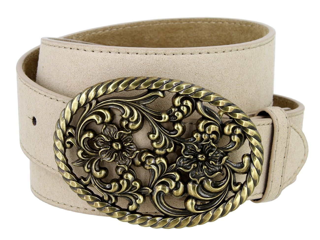 """Multi-Colors! Suede Belt With Flower Buckle 1-1//2/"""" Wide"""