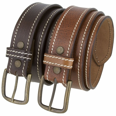 """NEW!!! 2443 Casual White Stitched Leather Belt - 1 1/2"""" Wide"""